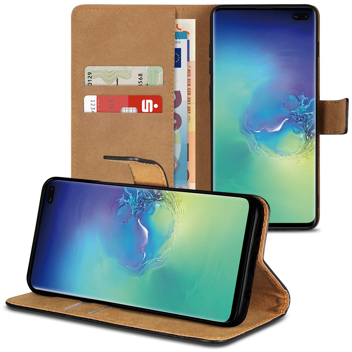 bade2dd6a50d1 Leder Hülle Samsung Galaxy S10 Plus Tasche Book Cover Handy Flip Case  Klapphülle