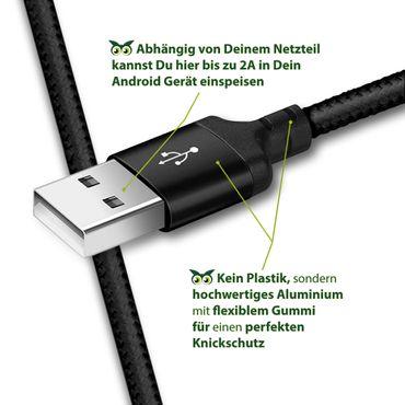 Ladekabel Datenkabel Samsung Galaxy S10e Typ-C USB Daten Kabel Nylon 1m Schwarz – Bild 7