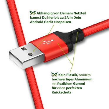 Ladekabel Datenkabel Samsung Galaxy S10 Plus Typ-C Daten Lade Kabel Nylon 1m Rot – Bild 7