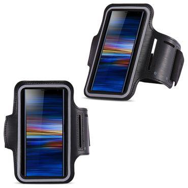 Sportarmband Schutzhülle für Sony Xperia 10 Hülle Tasche Schwarz Jogging Armcase – Bild 1