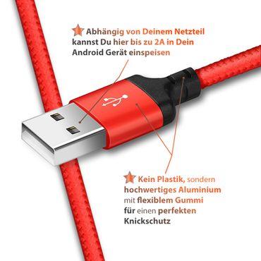 Schnell Ladekabel Samsung Galaxy Tab A 10.1 2019 Daten Kabel USB Typ C Nylon 1m  – Bild 15