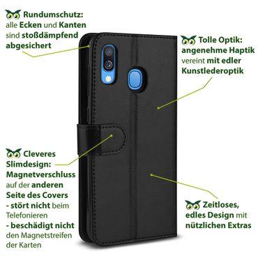 Hülle für Samsung Galaxy A40 Tasche Schutzhülle Schwarz Flip Case Klapp Cover  – Bild 6