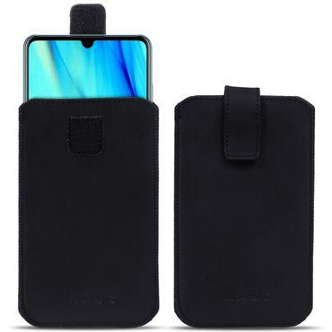 Schutzhülle Huawei P30 Pro Leder Hülle Pull Tab Handy Sleeve Tasche Case Schwarz