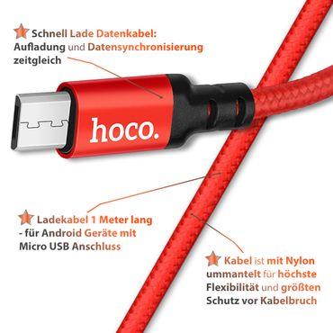 Datenkabel Medion Lifetab E10414 Nylon Schnell Ladekabel 1m Micro USB Kabel Rot – Bild 6
