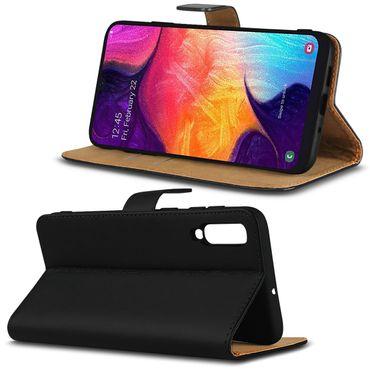 Leder Tasche Samsung Galaxy A50 Hülle Book Cover Schwarz Flip Case Schutzhülle – Bild 7
