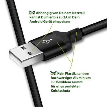 Schnell Ladekabel Huawei Honor 20 Pro Datenkabel Typ C USB Lade Kabel Nylon 1m – Bild 8