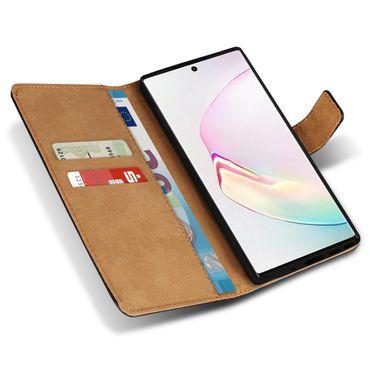 Leder Hülle Samsung Galaxy Note 10 Plus Schutzhülle Schwarz Case Tasche Cover – Bild 7