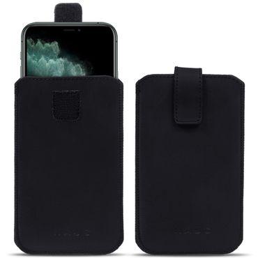 Leder Hülle Apple iPhone 11 Pro Max Schutzhülle Schwarz Pull Tab Handy Tasche – Bild 1