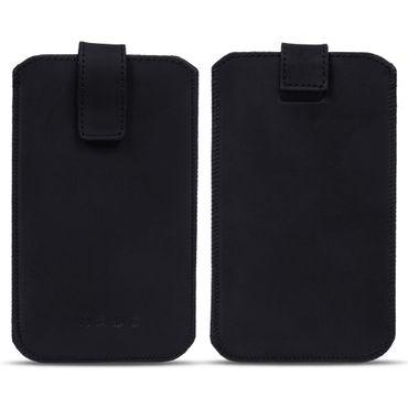 Handy Hülle Apple iPhone 11 Pro Max Leder Tasche Schwarz Schutz Case Pull Tab – Bild 3