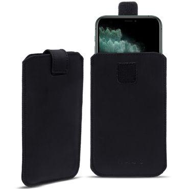 Handy Hülle Apple iPhone 11 Pro Max Leder Tasche Schwarz Schutz Case Pull Tab – Bild 1