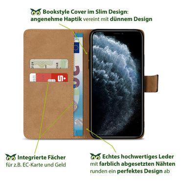 Leder Hülle Apple iPhone 11 Pro Schutzhülle Schwarz Flip Case Tasche Handy Cover – Bild 5