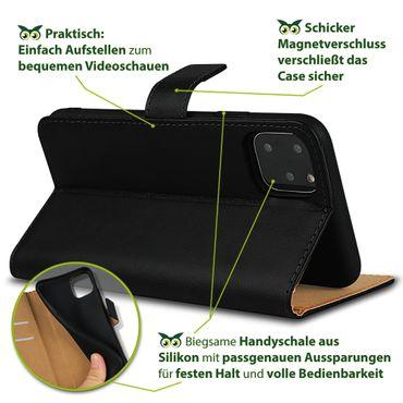 Leder Hülle Apple iPhone 11 Pro Schutzhülle Schwarz Flip Case Tasche Handy Cover – Bild 6
