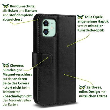 Handy Hülle für Apple iPhone 11 Tasche Schwarz Flip Case Cover Klapp Schutzhülle – Bild 6