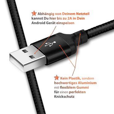 Schnell Ladekabel Samsung Galaxy A90 5G USB-C Typ C Nylon 1m Daten Lade Kabel – Bild 8