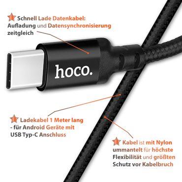 Schnell Ladekabel für Samsung Galaxy A30s USB-C Typ C Nylon 1m Daten Lade Kabel – Bild 7