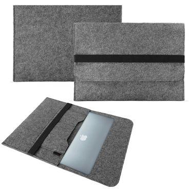Tasche Hülle für Apple Macbook Air 13,3 Zoll Filz Sleeve Schutzhülle Tablet Case Cover Notebook Bag aus strapazierfähigem Filz in Grau mit Innentaschen und sicheren Verschluss von NAUC®  – Bild 1