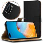 Schutzhülle für Huawei P40 Pro Handy Hülle Leder Tasche Schwarz Cover Flip Case 001