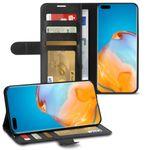 Schutzhülle Huawei P40 Pro Plus Hülle Handy Tasche Schwarz Flip Case Handyhülle 001