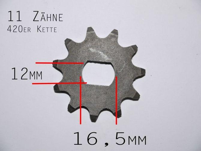 Ritzel 11 Zähne für 420er Kette  - passend für elektro Motor Kinderquad 48V 1000 Watt