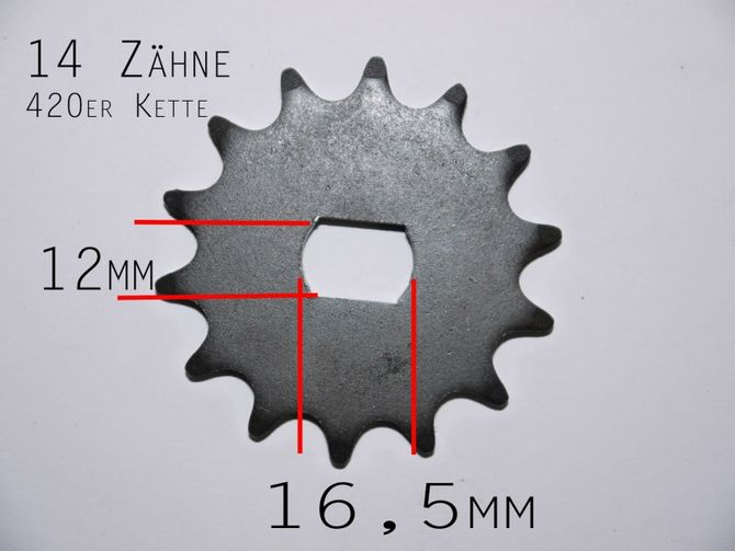 Ritzel 14 Zähne für 420er Kette  - passend für elektro Motor Kinderquad 48V 1000 Watt
