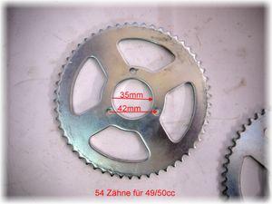 Kettenrad - Kettenblatt 54 Zähne - 35 mm Lochkreis - 42 mm Lochabstand für Kinderquad 50ccm -