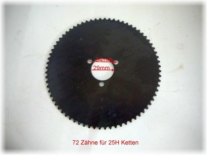 Ritzel Kettenrad - Kettenblatt 72 Zähne - 29 mm Lochkreis - 34,5 mm Lochabstand für elektro Kinderquad / Dirtbike / Scooter