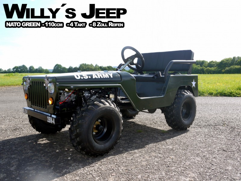 Willy´s Jeep Replika - 110ccm Mini Jeep - Offroad Edition - mit 8 Zoll Bereifung – Bild 1