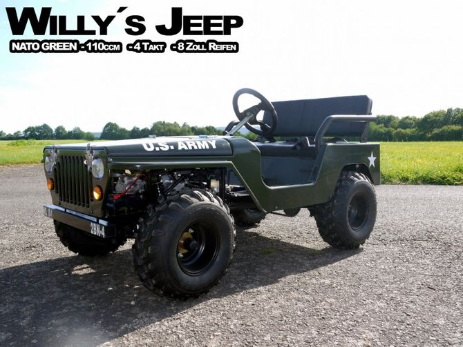 Willy´s Jeep Replika - 110ccm Mini Jeep - Offroad Edition - mit 8 Zoll Bereifung