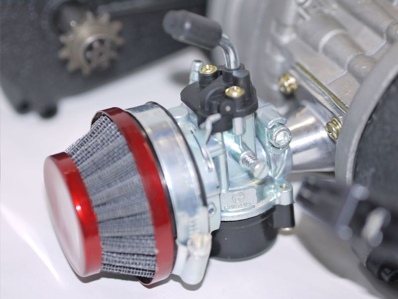 50ccm 2 Takt Motor mit E-Starter inkl. Tuning Vergaser + Lufi - Tuning Kupplung - Easy Pull Start  – Bild 5