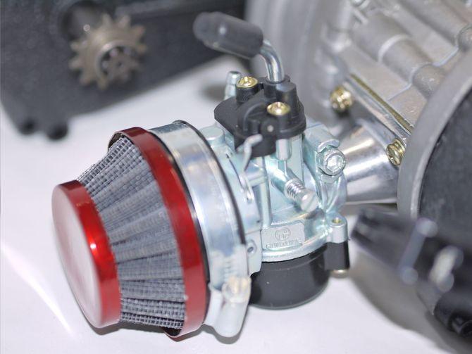 50ccm 2 Takt Motor mit E-Starter inkl. Tuning Vergaser + Lufi - Tuning Kupplung - Easy Pull Start