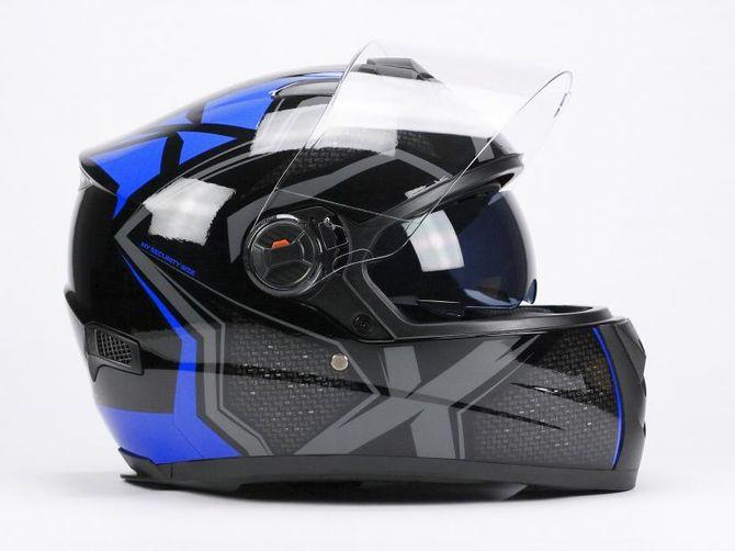 Integral Helm - Motorrad Helm für Erwachsene von BNO - Integral 2 - blau / schwarz verschiedene Größen