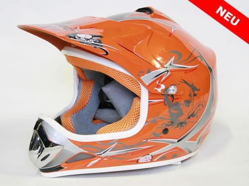 Kinder Helm Cross - Helm für Kinderquad Pocketbike - Orange – Bild 1