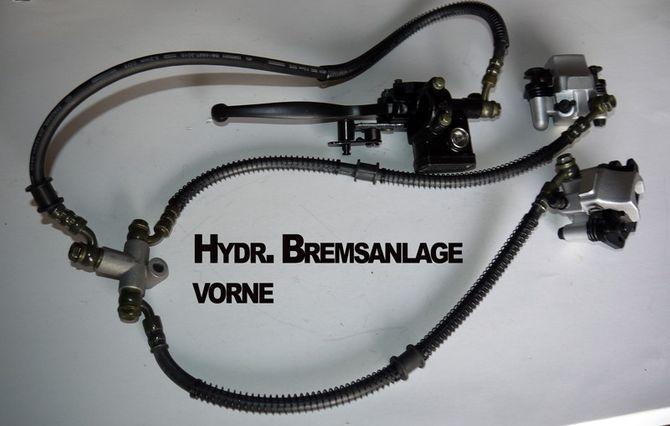 Bremse / Hydraulische Bremsanlage vorne gefüllt inkl. Bremssattel Speedbird Kinderquad
