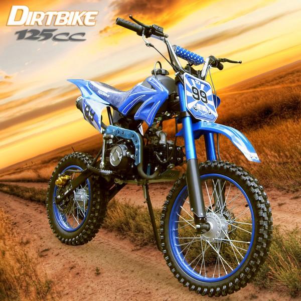 Dirtbike 125ccm Cross Bike mit 17/14 Bereifung - 4Takt - blau – Bild 1