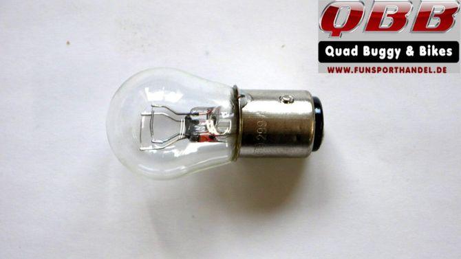 Glühlampe 12V P 21 / 5 Watt Bay 15d Glühbirne für Rücklicht - Zweifadenlampe für Motorräder, Quads, Autos