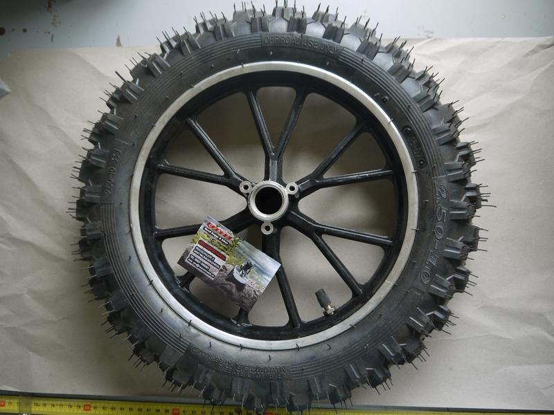"""10"""" Komplettrad mit 2,50-10 Reifen für unsere E- und 50cc Dirtbikes – Bild 1"""