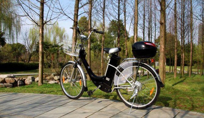"""Elektrofahrrad """"City Bike 250W"""" mit Tragekorb u. Topcase - schwarz"""