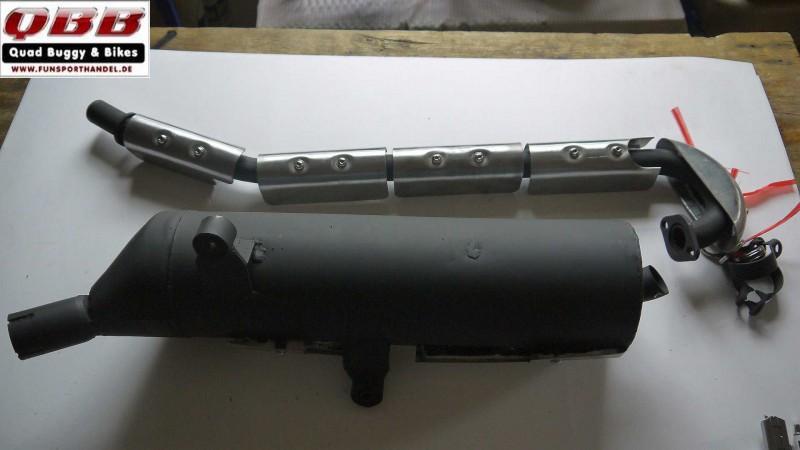 Aupuff, Auspuffanlage komplett mit Hitzeschutz für ATV QUAD Kandi Hummer 400cc  – Bild 2
