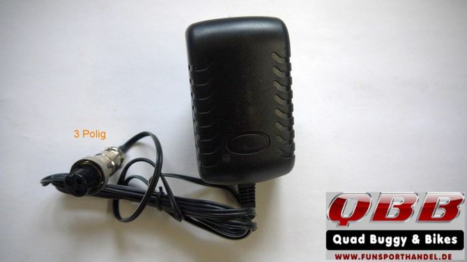 Ladegerät 12 Volt 0,8A 1- und 3-polig Buchse für Kinderquad