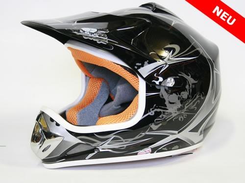 Kinder Helm Cross - Helm für Kinderquad Pocketbike - Schwarz – Bild 1