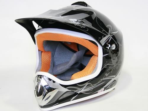 Kinder Helm Cross - Helm für Kinderquad Pocketbike - Schwarz