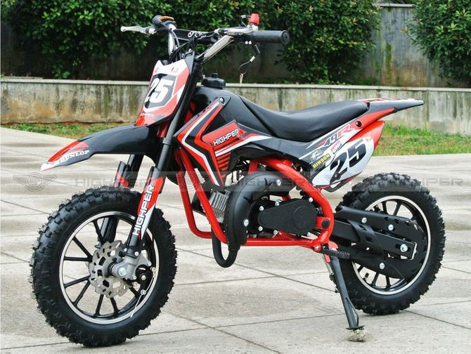 Dirtbike 50ccm Cross Bike 2 Takt - 10 Zoll inkl. drosselbarerem Gasgriff - NEU Modell 49-R