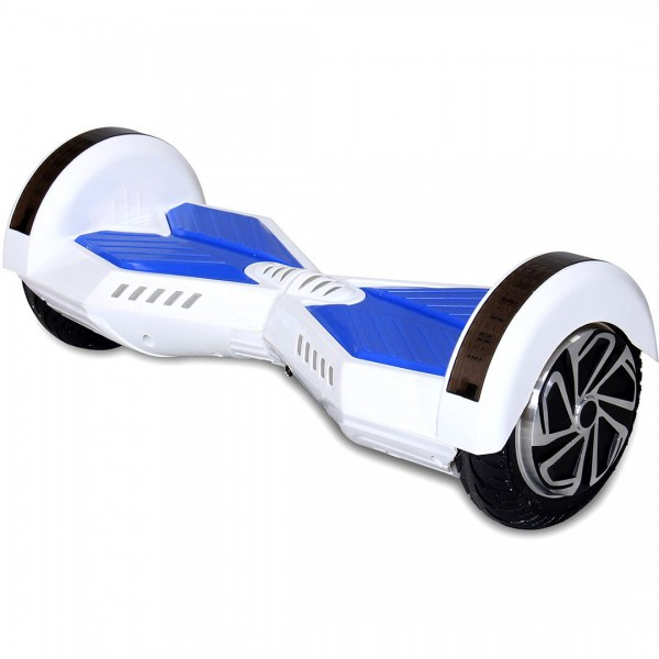 "Hoverboard - Selbstbalancierender E-Scooter - Elektro Board Modell AB700 - 8"" weiss-blau – Bild 3"