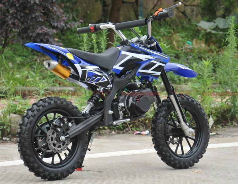 Dirtbike 50ccm Cross Bike 2 Takt - 10 Zoll inkl. drosselbarerem Gasgriff  – Bild 1