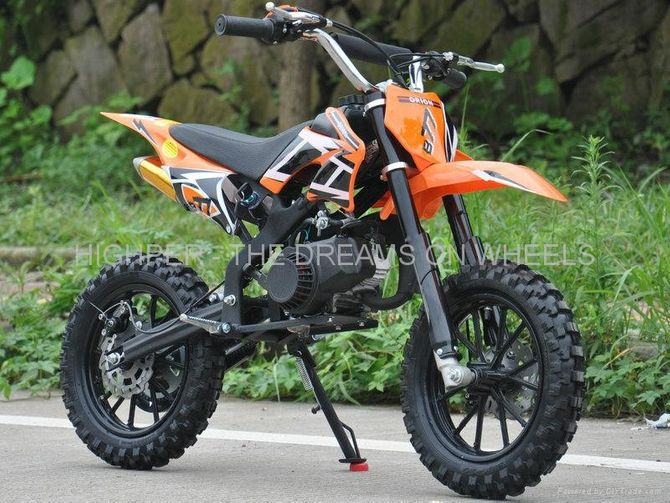 Dirtbike 50ccm Cross Bike 2 Takt - 10 Zoll inkl. drosselbarerem Gasgriff