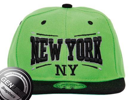 New York City Fashion Baseball Snapback Cap in schwarz/lime – Bild 2