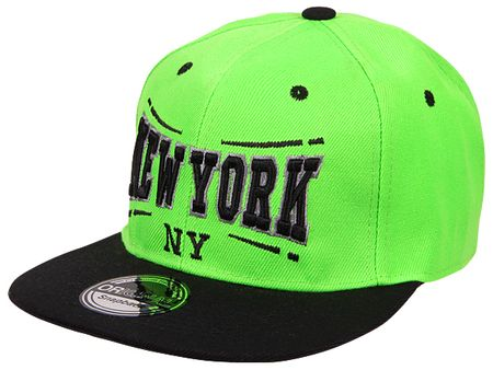 New York City Fashion Baseball Snapback Cap in schwarz/lime – Bild 1