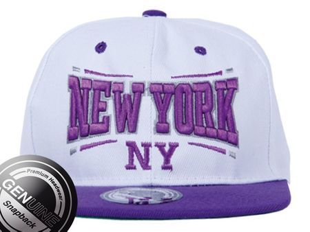 Viper City Fashion Baseball Snapback Cap New York lila/weiß