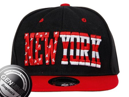 Viper City Fashion Baseball Snapback Cap New York rot-schwarz