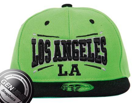 Los Angeles City Fashion Baseball Snapback Cap in schwarz-lime